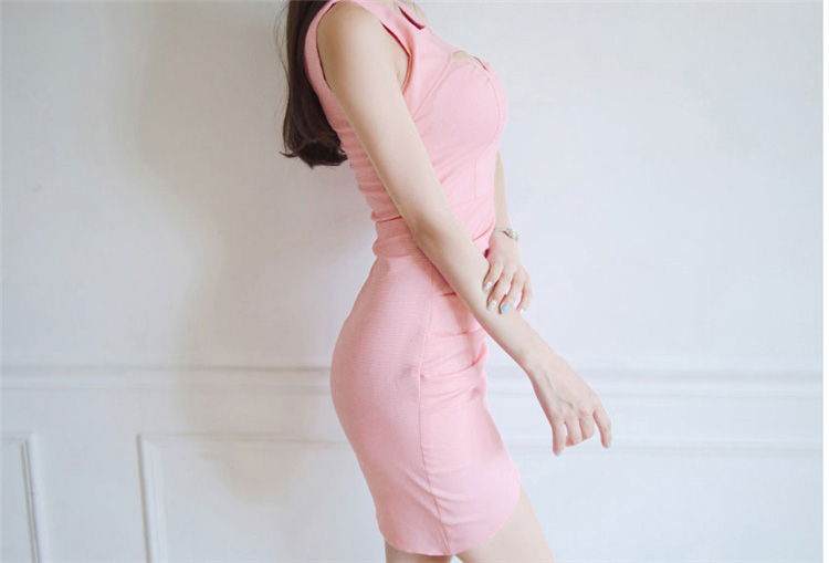 Package Solides New Summer Manches 2016 Robe Fraîche Backless Rose Sans Lolita Petite Sexy Dame Mignon Hip Slim xIq7p7nwP