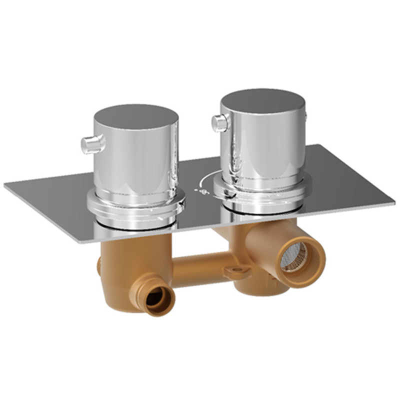 Concealed Thermostatic Shower Valve Mixer Tap Round 2 Dial 2 Way Chrome Finish