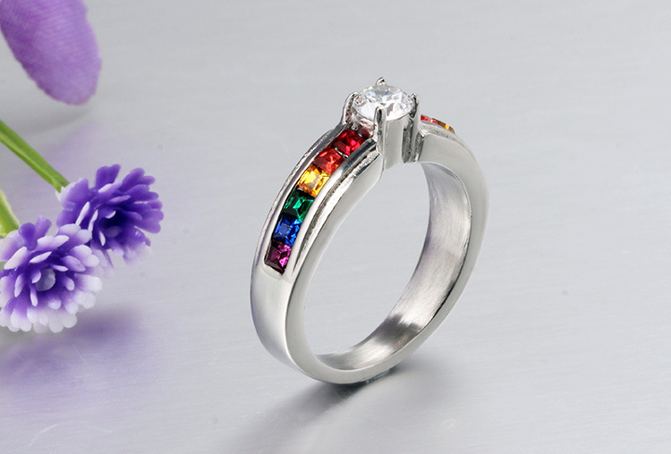 bands titanium ring rings diamond wedding engagement lesbian gay jewelry steel lgbt from for product stores top mens rainbow