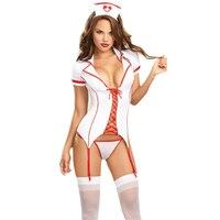 Sexy Lingerie Hot Cosplay Nurse Uniform Đồ Lót của Phụ Nữ Hollow Out Bandage Đồ Lót Khiêu Dâm Y Tá Trang Phục Khiêu Dâm Babydoll Dress