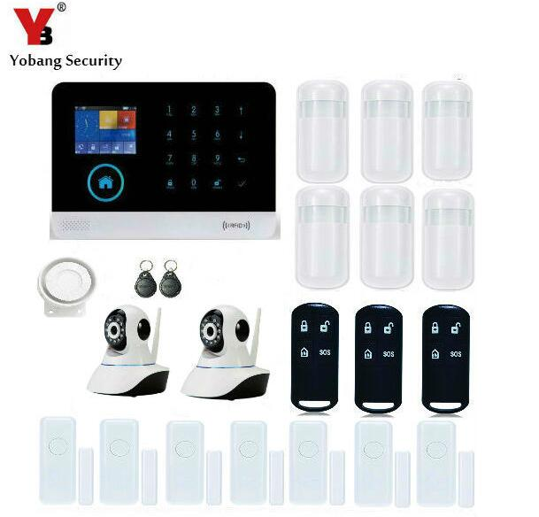 Yobang Security-Wireless Zones App Control Security Home Kits WIFI GSM Alarm System With 2 IP Camera For Home Protection yobang security app smarts alarm system camera surveillance wireless door window magnetic sensor wifi gsm home security kits