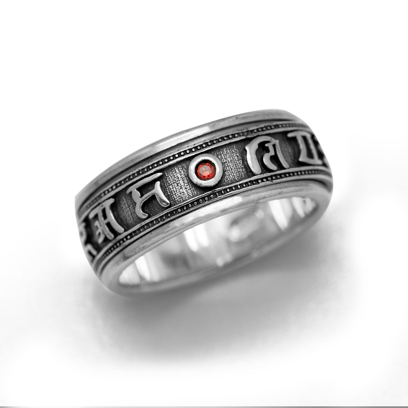 Vintage Buddhism Blessing 925 Sterling Silver Good Luck Ring 10 china silver feng shui buddhism good luck eight treasures sculpture statue