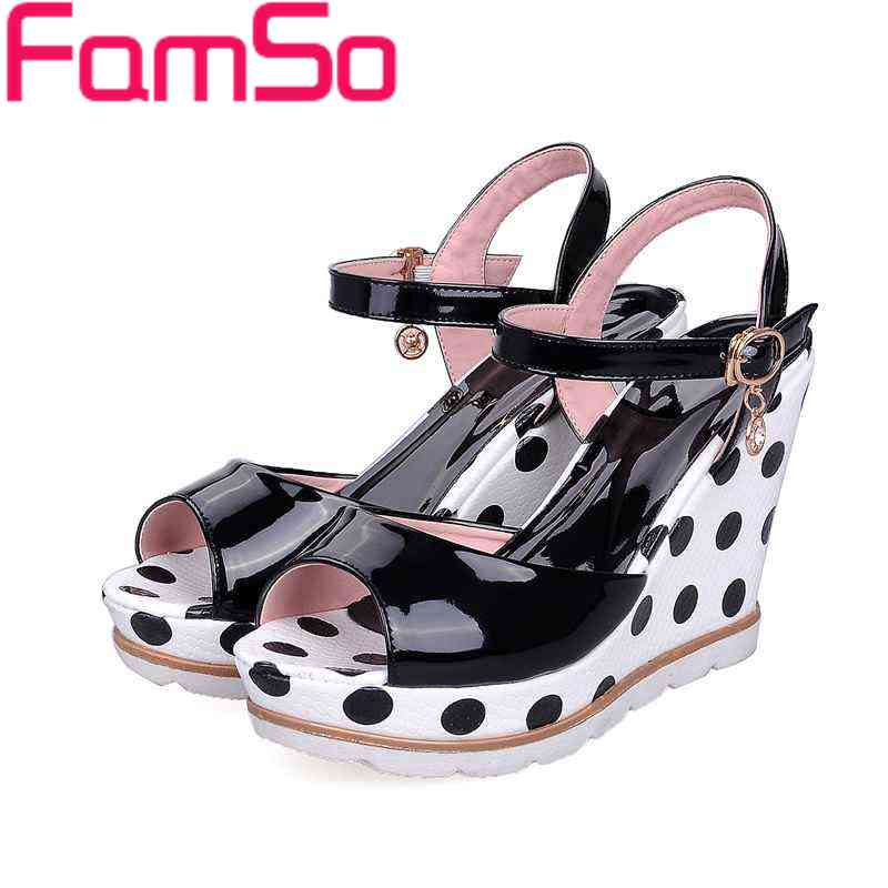 Plus Size34 42 2016 New Shoes font b Women b font Sandals Polka Dot Wedges Shoe