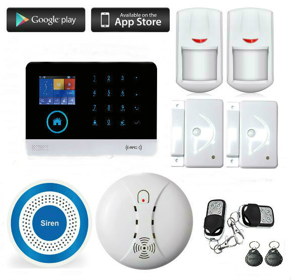 Wireless GSM WIFI Home and Business Security Burglar Alarm System Kit Auto Dialing Dialer Android iOS APP Control+Wireless Siren