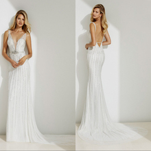 Vestido de noiva Backless Mermaid Wedding Dress Court Train