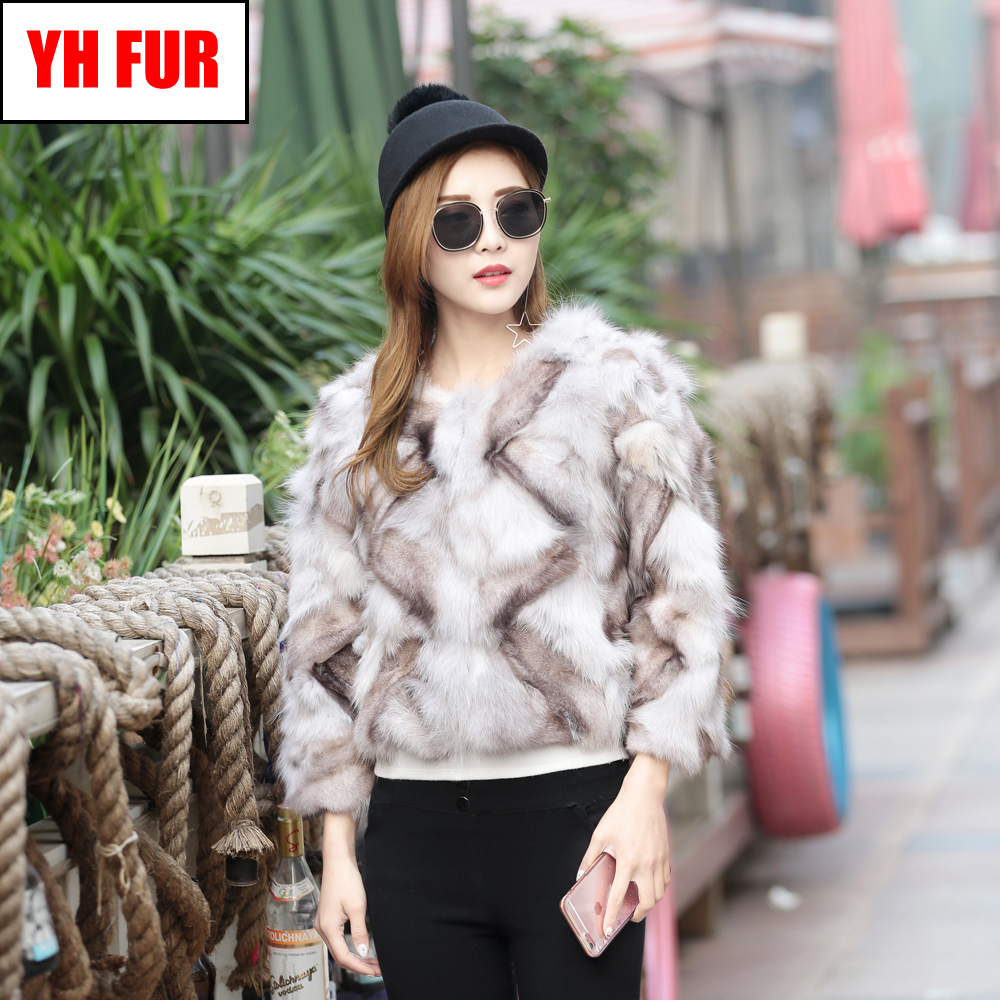 New Women Real 100 Natural Soft Fox Fur Jacket Winter Warm Lady Genuine Fox Fur Outerwear