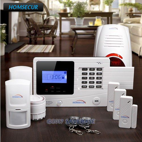 HOMSECUR Wireless GSM SMS Autodial Home Alarm System+ Outdoor Strobe Siren цена