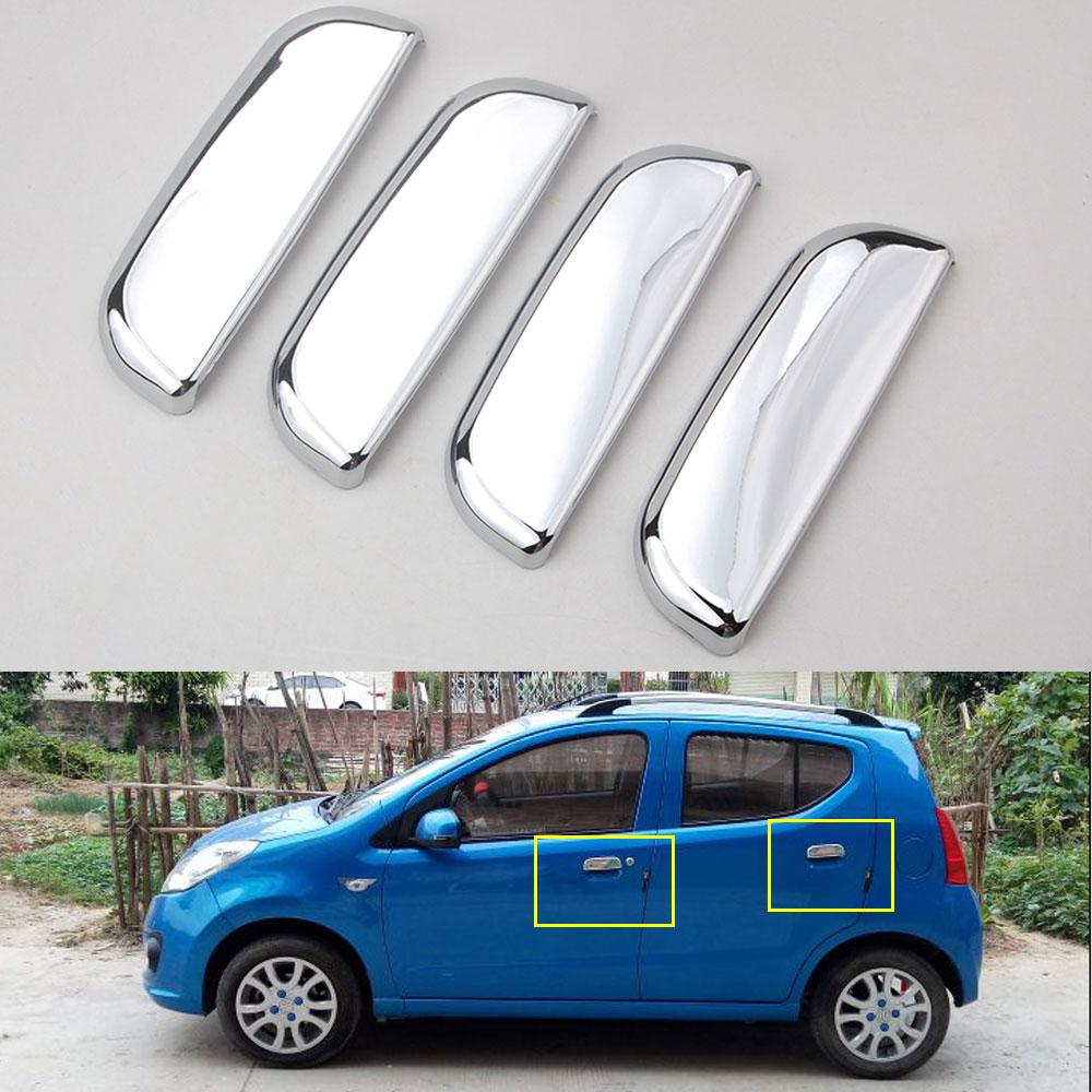 4pcs ABS For Suzuki Alto 2009 2010 2011 Chrome Car Exterior Door Handles Cover Protectors Decorative Silver Styling Accessories