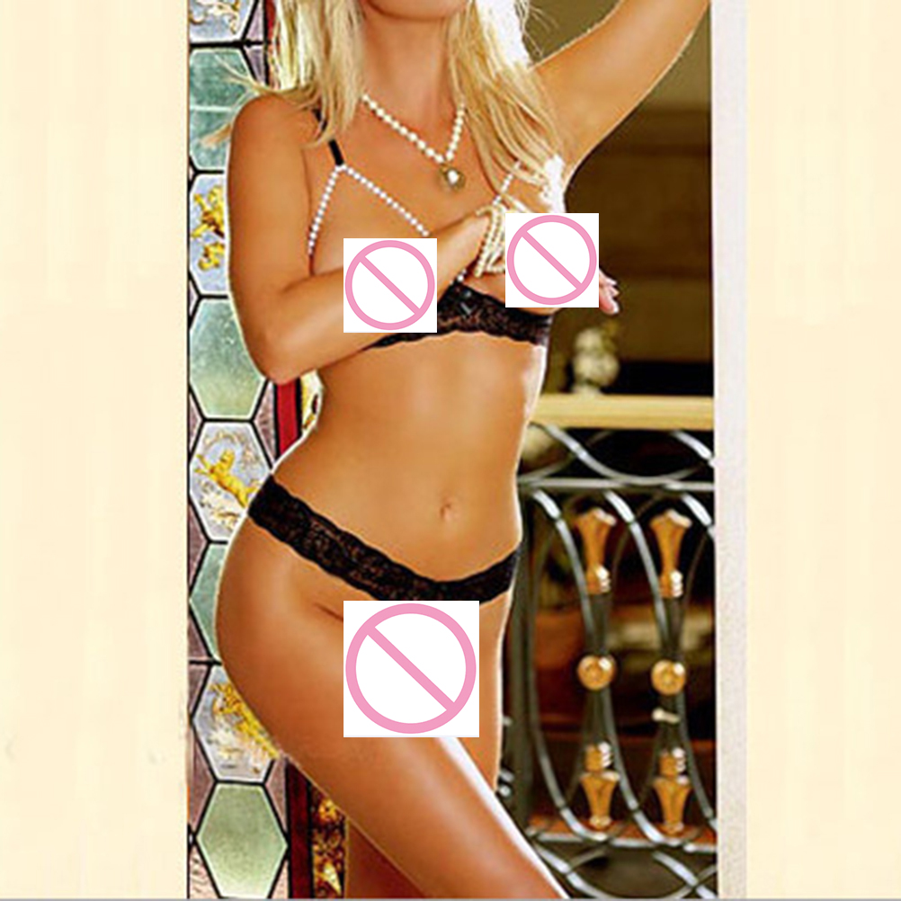 Women's Sexy Lingerie Erotic Temptation Three-point Pearl Lace Bra + Pearl Massage Thong
