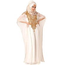 Ivory Chiffon Dubai Kaftan with Gold Beading Hijab Muslim Evening Party Dress Luxurious Long Formal Gown