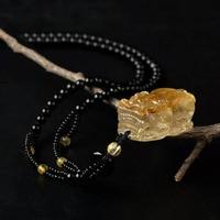 Genuine Brazil Titanium Gold Rutilated Quartz Powerful PiXiu Animal Shape Necklace Crystal Pendant