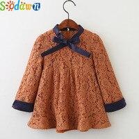 Sodawn 2017 Autumn Girl Clothes Girls Dress Bow Lace Design Sweet Princess Dress Children Clothing Kids