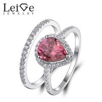 Leige Jewelry Tourmaline Ring Natural Gemstone Pear Cut 925 Silver Wedding Promise Rings Set For Women