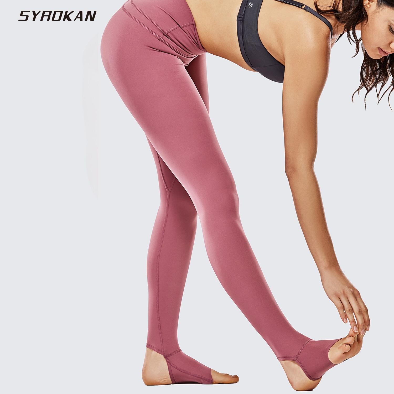 ★  SYROKAN Женские леггинсы с обнаженной талией и спортивными йога- 28 дюймов ①