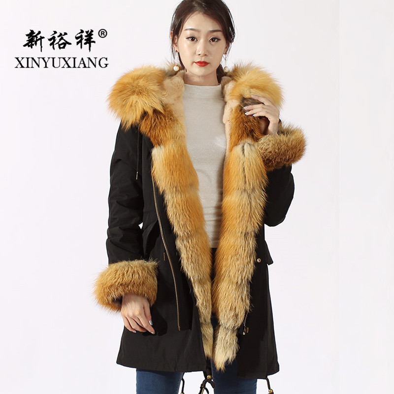 XINYUXIANG 2018 Parkas femmes long noir couleur or veste naturel Rex lapin fourrure doublure grand réel renard fourrure col manteau 0388C