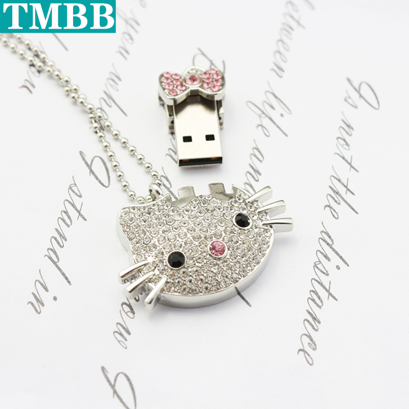 BiNFUL Latest USB Flash Drive Crystal Cat 128GB U Disk 4GB 8GB 16GB 32GB 64GB Creative Personality Flash Drive Memory Stick Gift