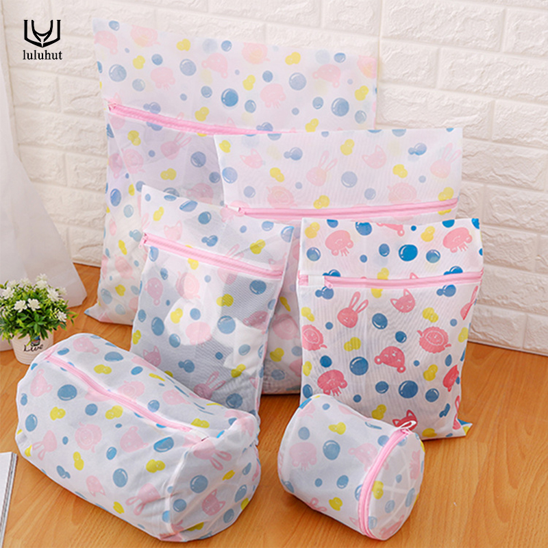 luluhut nylon mesh laundry bag protecting clothes bra lingerie bag folding laundry bags for washing machines laundry basket ...
