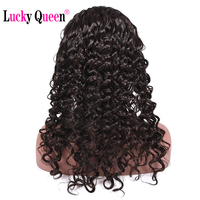 Lucky Queen Hair Brazilian Deep Wave Non Remy Hair Natural Black Color Full Lace Human Hair