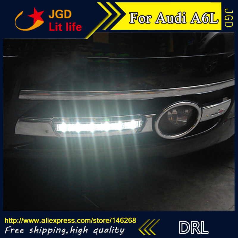 цены Free shipping ! 12V 6000k LED DRL Daytime running light for Audi A6L 2006-2008 fog lamp frame Fog light Car styling