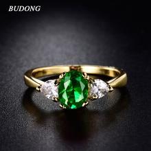 BUDONG женские Кольца Бесконечности золотого цвета овальные кольца с зеленым и белым кристаллом ювелирные изделия оптом вечерние модные товары xuR221