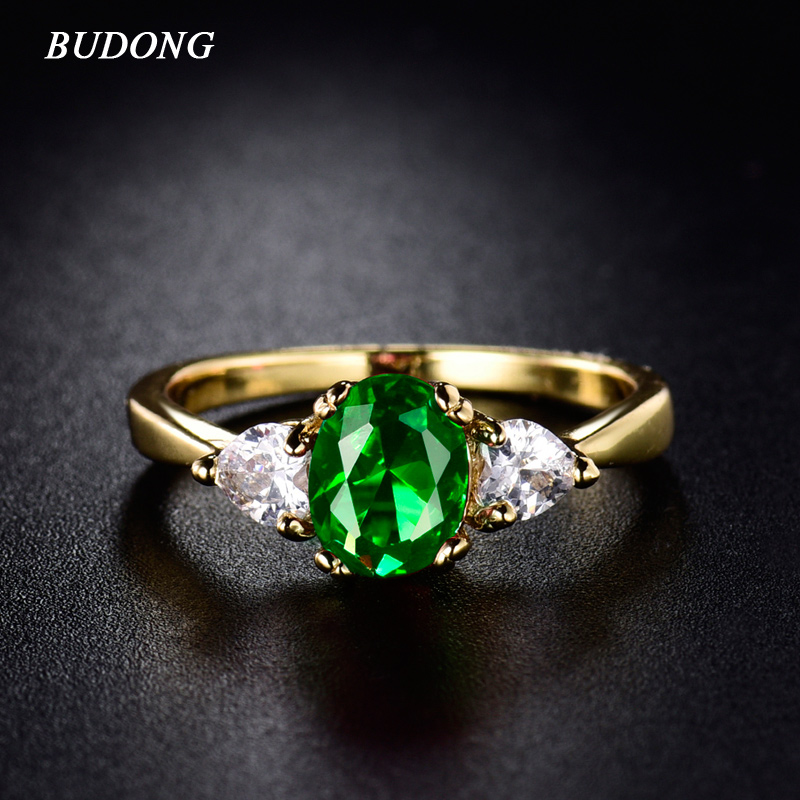 Budong women infinity rings gold color ring oval green for Infinity ring jewelry store