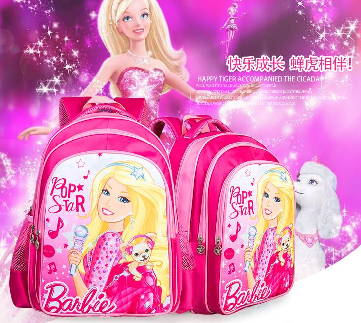 New fashion brand Childrens backpacks Kids schoolbag cartoon Barbie school bags for girls 5 designs freeshipping