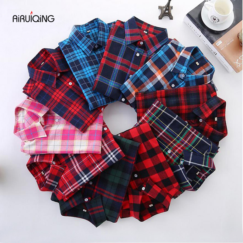 Plaid Shirt Women New 100% Cotton Long Sleeve Casual Flannel Shirts - Women's Clothing - Photo 1