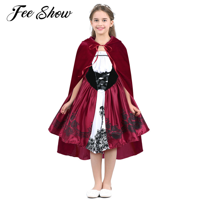 2018 Novelty Kids Girls Flower Dress Sleeveless Print Halloween Holiday Role Play Costumes Cosplay Party A-line Dress With Cloak Factory Direct Selling Price Costumes & Accessories