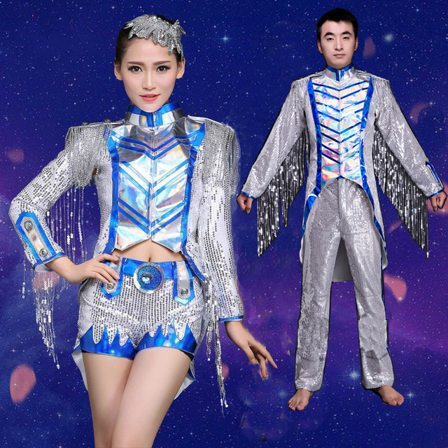 fbd901d27f307 Women Tassel Jazz Dance Costumes Sequin Night Club DS Dance Costume Men Modern  Dance Costume Ballroom Dance Wear Dress 89