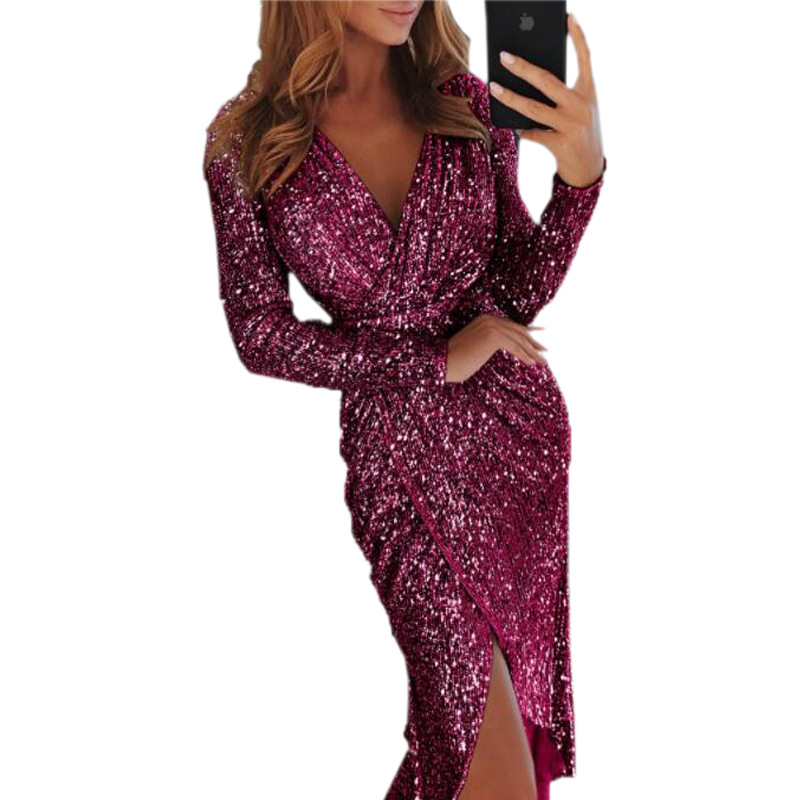 Sexy Slit Party Dress Women Glitter Sequined Bodycon Dress Autumn Long Sleeve V-neck Midi Tunic Dress Vestidos Plus Size