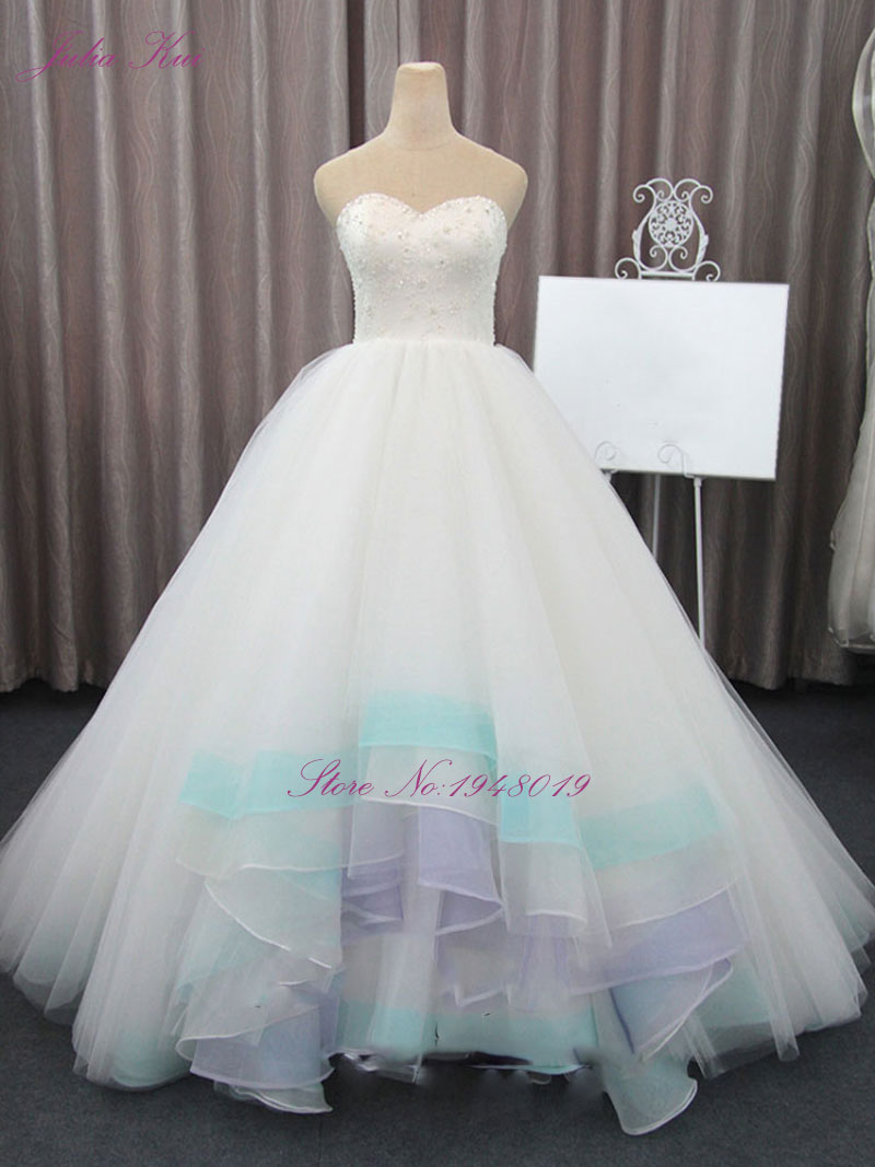 Julia Kui Ketibaan Ketibaan Baru Tanpa Tali Bahu Perkahwinan dengan Lace Up Pakaian Pengantin Vintaj Dengan Organza Dan Tulle
