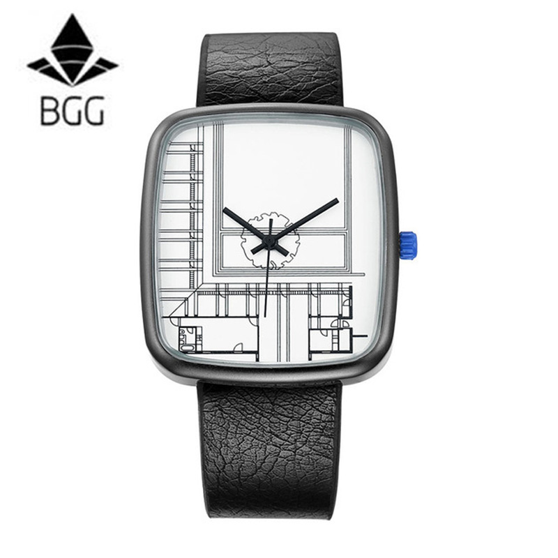 BGG Creative Square Dial Women Men Quartz Watch Architectural aesthetics Style Lovers Watch Leather Strap Watch Women Men Reloj bgg brand creative two turntables dial women men watch stainless mesh boy girl casual quartz watch students watch relogio