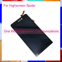 """One World 1pcs/lot 5.0"""" Black For Highscreen Spider LCD display and Touch Screen Assembly perfect repair part Free Shipping"""