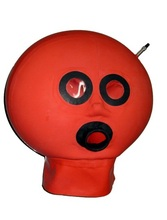 Latex hood/mask, inflation, inflatable by air tap, like ball