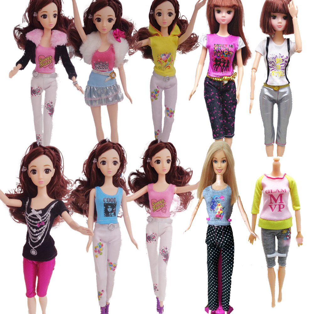 5sets Style Handmade Informal Model 5 Garments + 5 Trousers pants Outfits For Barbie Doll Ladies birthday new 12 months Reward for youths