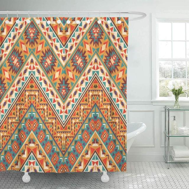 Shower Curtain With Hooks Yellow Tribal Colorful Navajo Pattern Chevron Native Zig Mexican Aztec Zag American Bathroom Decor
