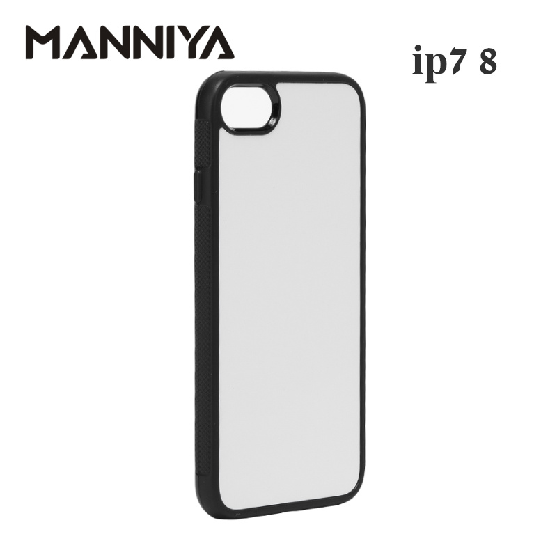 Image 2 - MANNIYA 2D Sublimation Blank rubber TPU+PC Case for iphone 7 8 with Aluminum Inserts and tape Free Shipping! 100pcs/lot-in Fitted Cases from Cellphones & Telecommunications