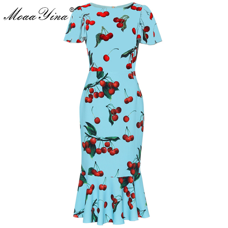 MoaaYina ファッションデザイナー滑走路ドレス春夏女性ドレスチェリープリントアップリケビーズマーメイドドレス  グループ上の レディース衣服 からの ドレス の中 1