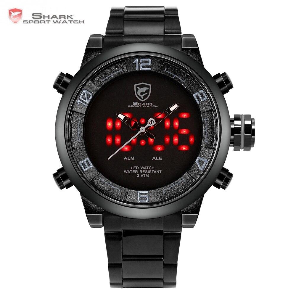 5931e9dcc7f Gulper Tubarão Relógio Do Esporte Grande Mostrador Preto Dos Homens Ao Ar  Livre LED Digital relógios de Pulso À Prova D  Água Alarme Calendário de  Moda ...
