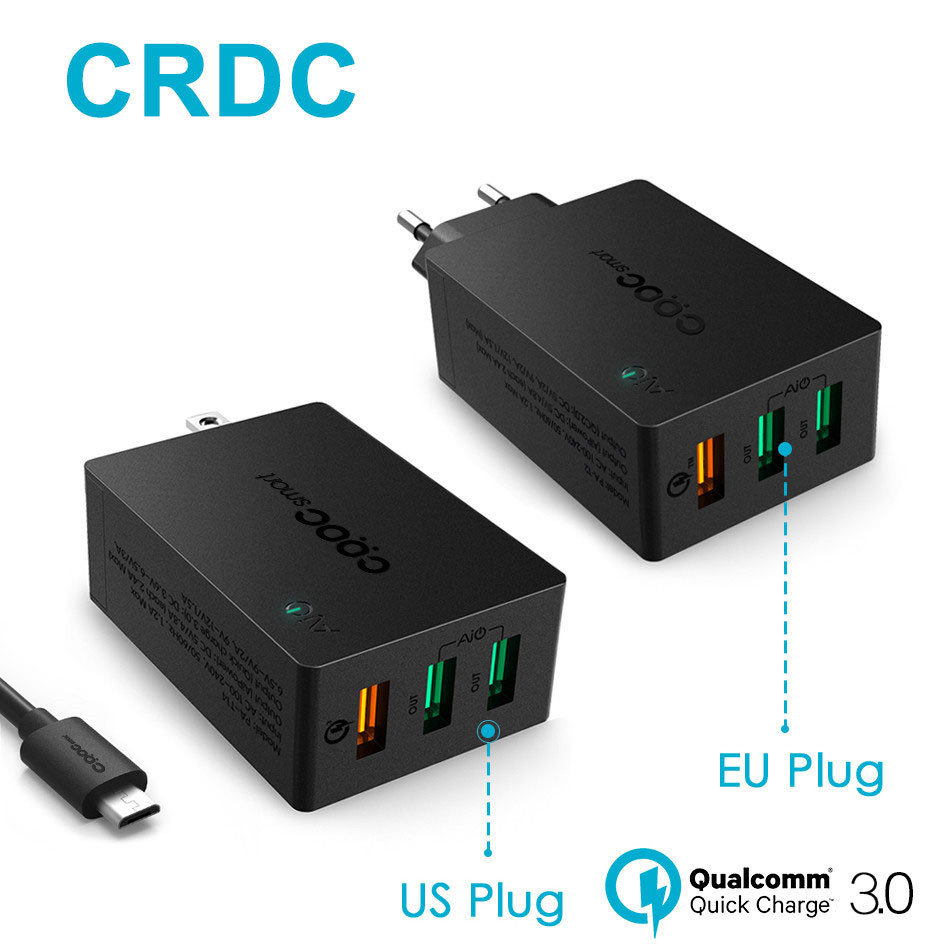 CRDC USB Carregador de Carga Rápida 3.0 Rápido Carregador de Parede Inteligente IC QC 2.0 Compatível Para o iphone Xiaomi Samsung LG G5 & More