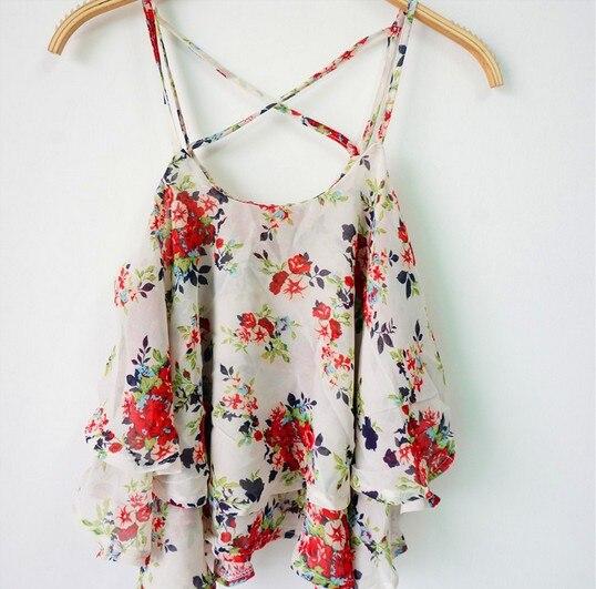 6332a0d97d7 Hot Women t shirt New Summer Sleeveless Shirts Girl Spaghetti Strap Sexy  Floral Print Chiffon Blouse Vest Crop Tank Tops