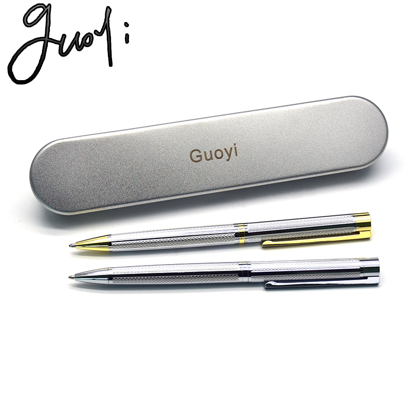Guoyi brand Z090 new arrival 0.7mm nib steel color and gold metal ballpoint pen High Quality Office School stationery gift Pens