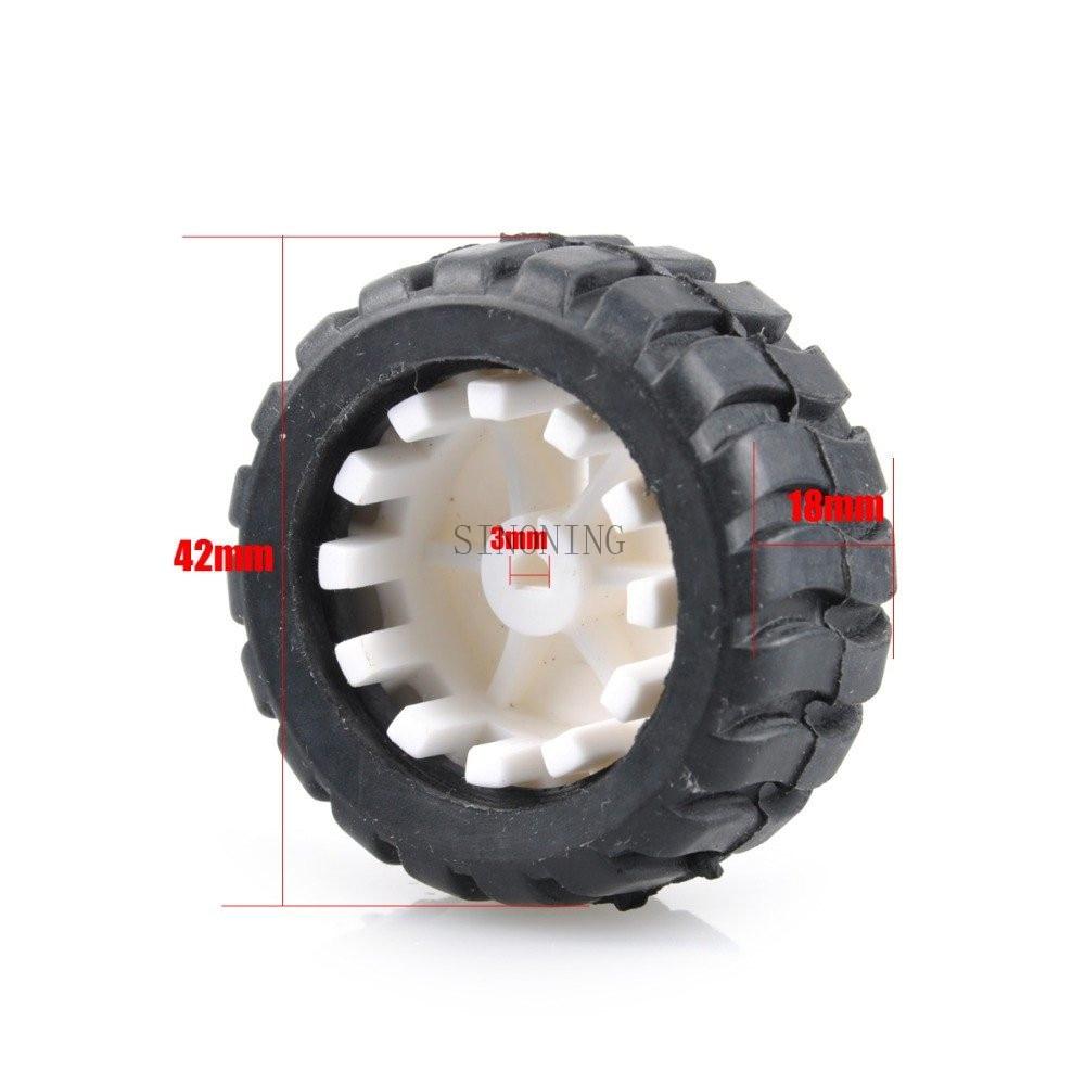 4pc 43*19*3mm D Hole Small Smart Car Model Tire Wheel Robot DIY Shaft Motor
