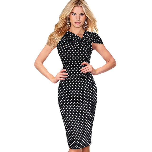 fc56cd72 Vfemage Women Elegant Vintage Pinup Bow Ruched Polka Dot Tunic Business  Casual Work Party Stretch Bodycon Pencil Dress 266