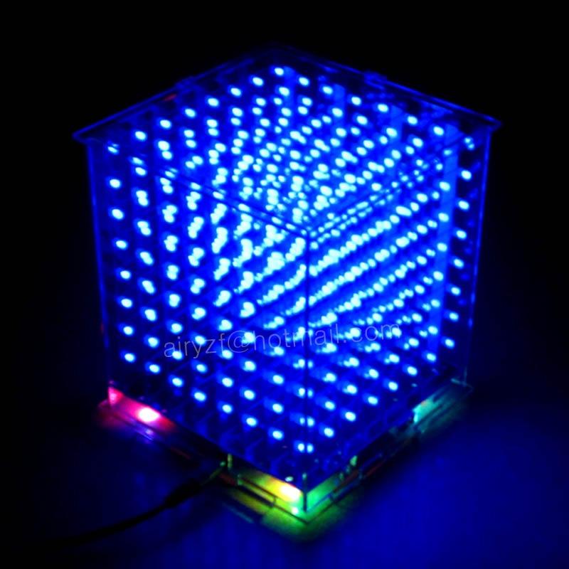 buy hot led electronic diy kit 3d 8 light mini cubeeds 8x8x8 led display. Black Bedroom Furniture Sets. Home Design Ideas