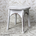Four Round Legs Round Top Shabby Chic Old Solid Wood Stool