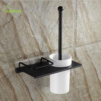 Black Bronze Antique Multifunctional Cup European Toilet Brush Holder Wall Mount Bathroom Accessories
