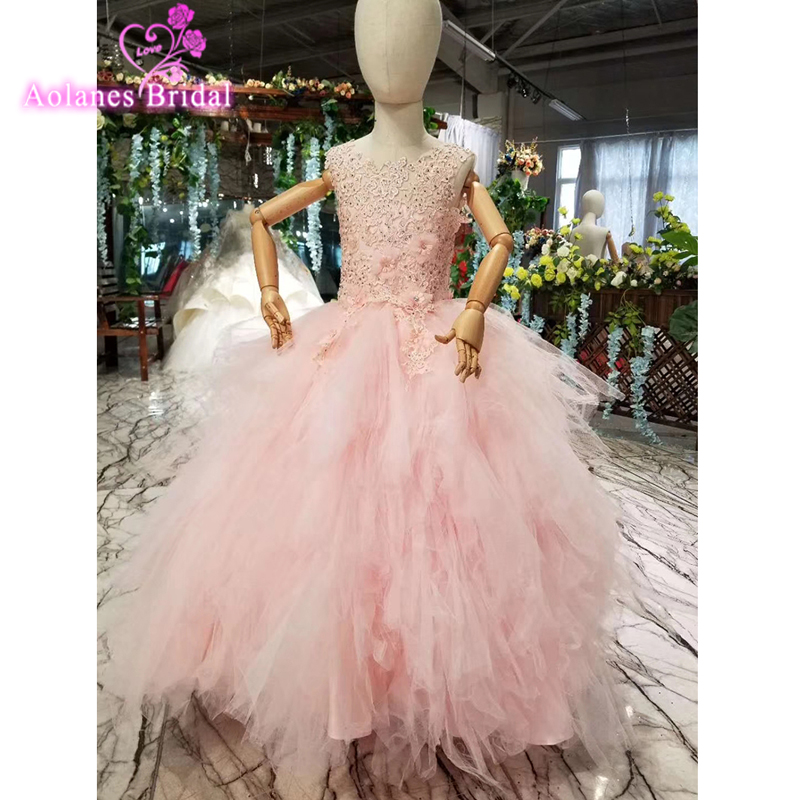 Crystals Beads Pink   Flower     Girl     Dresses   For Weddings O-neck Sleeveless Ball Gown Lace Pageant   Dresses   Puffy Communion   Dresses