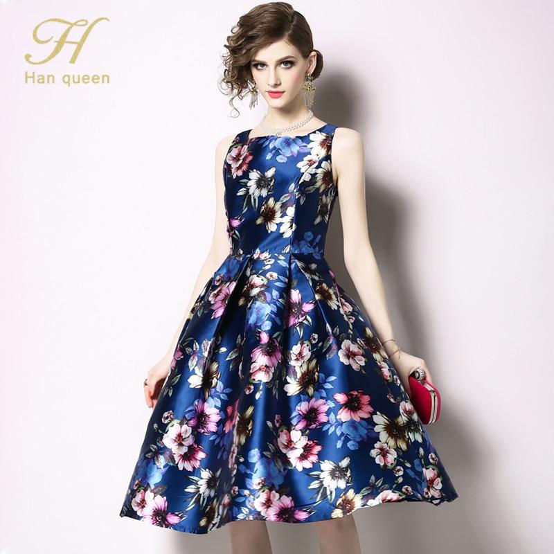 Image 3 - H Han Queen New Arrival 2019 Spring Vintage Sleeveless Jacquard  Dress Slim A Line Party O neck Knee length VestidosDresses   -