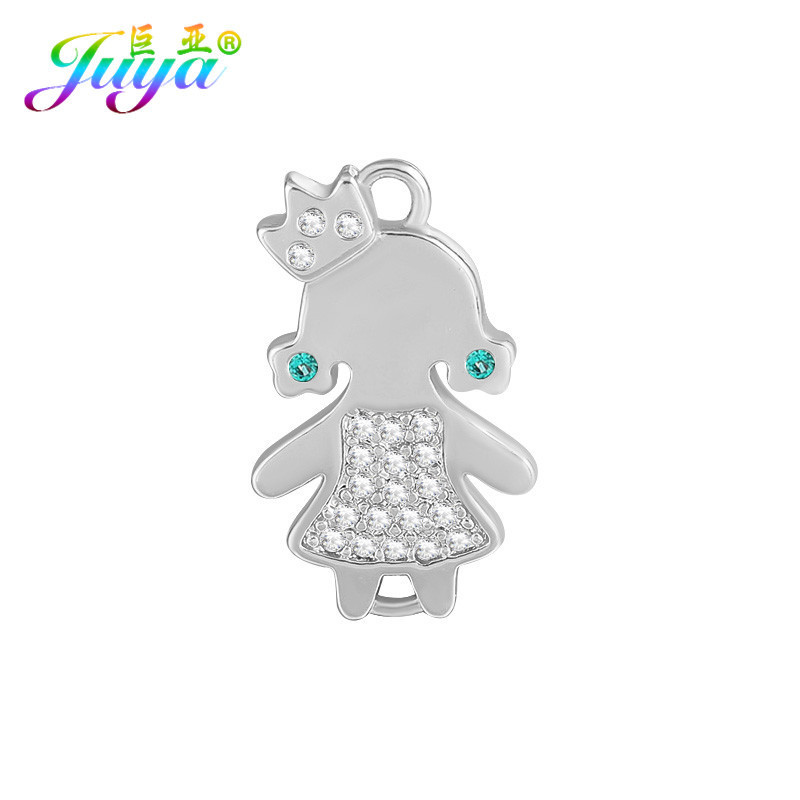 Gold/Silver/Rose Gold Handmade Figure Boy Girl Charm Connectors Accessories For Women Fashion Charm Bracelets Earring DIY Making